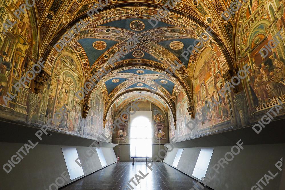 Il Pellegrinaio (The Pilgrim) room of Santa Maria della Scala Museum Siena Italy
