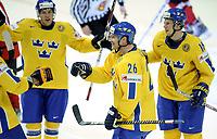 Jubel bei Torschuetze Marcus Nilson, Johan andersson und dem Team (SWE) zum 3:0 © Melanie Duchene/EQ Images