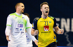 Albin Lagergren of Sweden reacts during handball match between National Teams of Sweden and Slovenia at Day 3 of IHF Men's Tokyo Olympic  Qualification tournament, on March 14, 2021 in Max-Schmeling-Halle, Berlin, Germany. Photo by Vid Ponikvar / Sportida