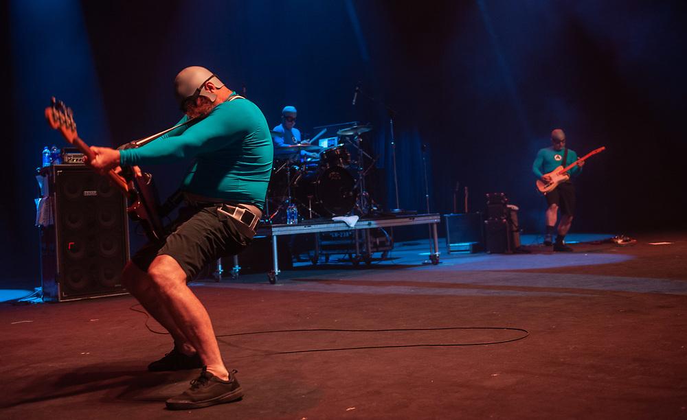 Crash McLarsen of The Aquabats! performing at Pacific Amphitheatre August 14, 2021. (Photo by Miguel Vasconcellos, OC Fair & Event Center)