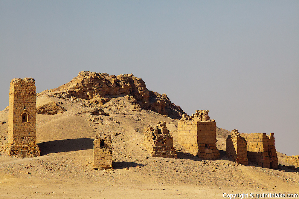 Towers of Yemliko, Valley of the tombs, Palmyra, Syria. Ancient city in the desert that fell into disuse after the 16th century.