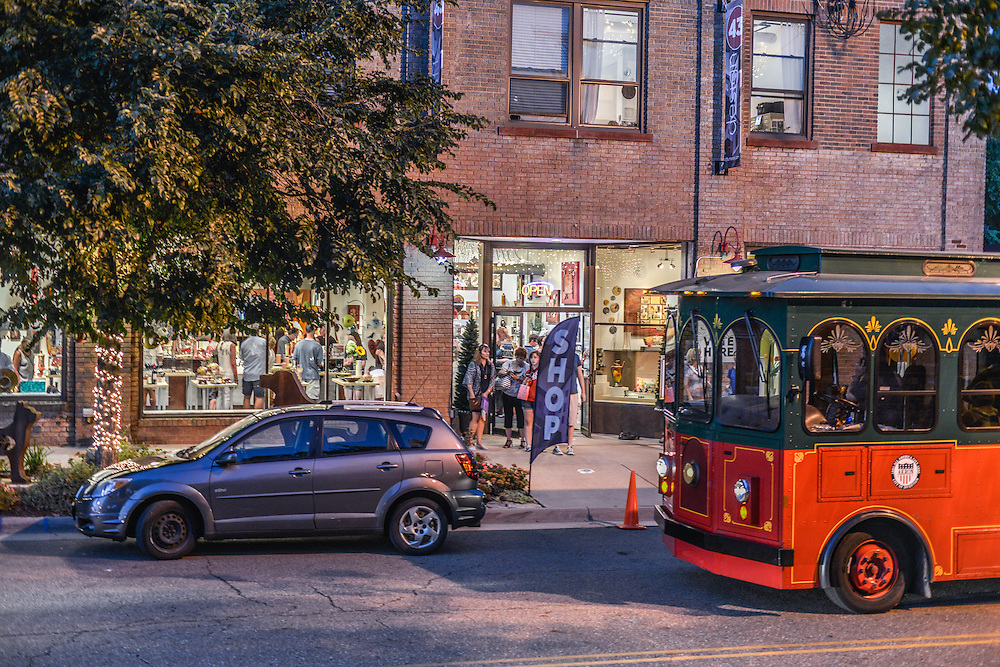 Trolley outside of Zeber-Martell during opening weekend of Akron Art Prize 2015