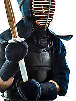 one man Kendo martial arts fighters combat fighting in silhouette isolated on white bacground