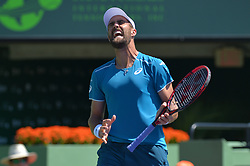 March 26, 2018 - Miami, FL, United States - KEY BISCAYNE, FL - March, 26:Steve Johnson Steve Johnson (USA) screams during play the 2018 Miami Open on March 24, 2018, at the Tennis Center at Crandon Park in Key Biscayne, FL. (Credit Image: © Andrew Patron via ZUMA Wire)