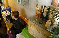 Deutschland, DEU, Berlin, 2002: ein junges Maedchen mit ihrer neuen Katze in einem Tragekorb, rechts von ihr steht eine Spendenbox mit Katzen aus Keramik darauf. Das Berliner Tierheim ist das groesste und modernste auf der Welt. | Germany, DEU, Berlin, 2002: Girl with his new cat in a cage, ready for transport. On the right side ceramic cats on the donation box. Cat house in the world's biggest and most modern animal shelter in Berlin. |