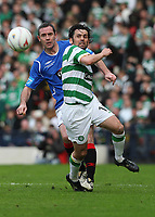 CIS Cup Final<br /> Celtic v Rangers<br /> Hampden Park<br /> Glasgow<br /> <br /> Rangers David Weir and Celtics Paul Hartley<br /> 15/03/2009 Credit Colorsport / Ian MacNicol