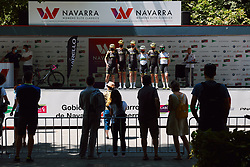 Mitchelton Scott sign on at the 2020 Clasica Feminas De Navarra, a 122.9 km road race starting and finishing in Pamplona, Spain on July 24, 2020. Photo by Sean Robinson/velofocus.com