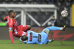 December 1, 2017 - France - CHARLEROI, BELGIUM - DECEMBER 1 : Joseph Akpala forward of KV Oostende scores in front of Nicolas Penneteau goalkeeper of Sporting Charleroi but sees his goal annulated for off-side during the Jupiler Pro League match between Sporting Charleroi and KV Oostende at the Stade du Pays de Charleroi stadium on December 01, 2017 in Charleroi, Belgium, 1/12/2017 (Credit Image: © Panoramic via ZUMA Press)