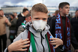 29th October 2017 - Sky Bet EFL Championship - Birmingham City v Aston Villa - A young Villa fan arrives for the game wearing a face mask - Photo: Simon Stacpoole / Offside.