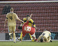 Photo: Aidan Ellis.<br /> Barnsley v Bristol City. Coca Cola League 1. 04/02/2006.<br /> Bristol's Louis Carey brings down Tommy Wright for the Barnsley penalty