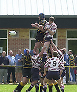 Esher, Surrey. ENGLAND.<br /> <br /> Photo Peter Spurrier<br /> 04/05/2002<br /> Sport - Rugby Union<br /> Tetley's County Championship 1 st Rd<br /> Surrey vs Cornwall<br /> The line out contest.