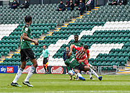 Plymouth Argyle midfielder Tyrese Fornah (18) battles for the ball and is fouled by Sunderland Forward Jordan Jones (27)  during the EFL Sky Bet League 1 match between Plymouth Argyle and Sunderland at Home Park, Plymouth, England on 1 May 2021.