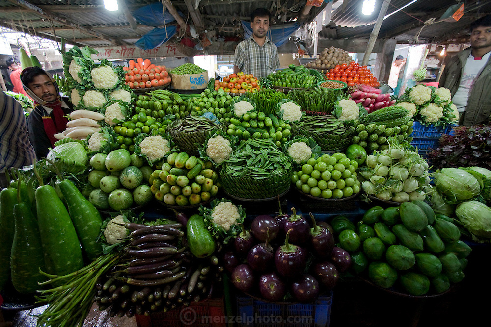 Vegetables at the Santinagar Market  in Dhaka, Bangladesh.