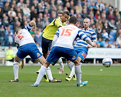 Birmingham City's  Jesse Lingard  is blocked by Reading's Alex Pearce and Reading's Sean Morrison - Photo mandatory by-line: Nigel Pitts-Drake/JMP - Tel: Mobile: 07966 386802 28/09/2013 - SPORT - FOOTBALL - Madejski Stadium - Reading - Reading V Birmingham City - Sky Bet Championship