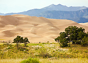 The Sangre de Cristo mountains cradle and feed the Great Sand Dunes National Park at its foothills.