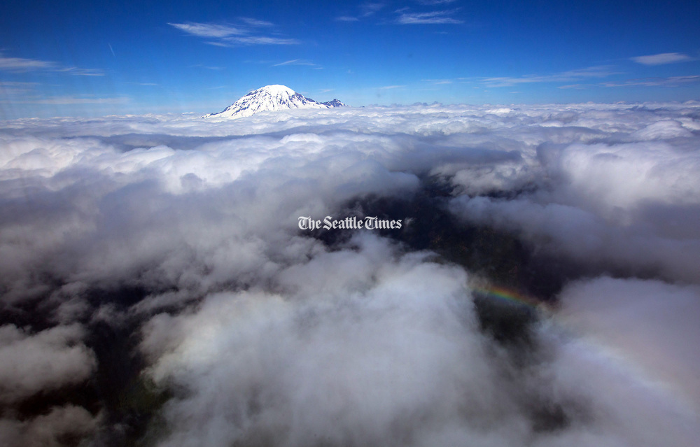 Mount Rainier, shot from a Black Hawk helicopter, heading back from Yakima to Camp Murray at JBLM. (Ellen M. Banner / The Seattle Times)