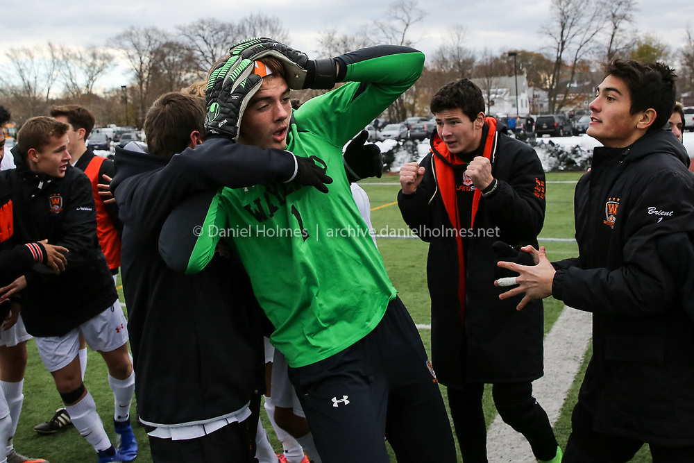 (11/17/18, WOBURN, MA) Wayland goalkeeper Nicholas Smith reacts after beating Nipmuc in the Division 3 state championship at Woburn Memorial High School in Woburn on Saturday. [Daily News and Wicked Local Photo/Dan Holmes]