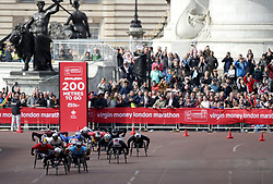 David Weir (front right) in action during the men's wheel chair Virgin Money London Marathon, London. PRESS ASSOCIATION. Picture date: Sunday April 23, 2017. See PA story ATHLETICS Marathon. Photo credit should read: Yui Mok/PA Wire