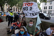 Stop HS2 protesters at Extinction Rebellion demonstration on 3rd September 2020 in London, United Kingdom. With government resitting after summer recess, the climate action group has organised two weeks of events, protest and disruption across the capital. Extinction Rebellion is a climate change group started in 2018 and has gained a huge following of people committed to peaceful protests. These protests are highlighting that the government is not doing enough to avoid catastrophic climate change and to demand the government take radical action to save the planet.