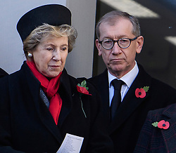 © Licensed to London News Pictures. 13/11/2016. London, UK.  NORMA MAJOR, wife of John Major and PHILIP MAY, husband of Theresa May, attend a Remembrance Day Ceremony at the Cenotaph war memorial in London, United Kingdom, on November 13, 2016 . Thousands of people honour the war dead by gathering at the iconic memorial to lay wreaths and observe two minutes silence. Photo credit: Ben Cawthra/LNP