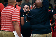 NORTH AUGUSTA, SC. July 10, 2019. Coach during a timeout at Nike Peach Jam in North Augusta, SC. <br /> NOTE TO USER: Mandatory Copyright Notice: Photo by Jon Lopez / Nike