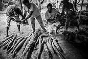 NOUVELLE CALEDONIE, Canala -  Coutume du mariage Kanak,  3 jours avant le mariage coutumier - Les coutumes  liées au clan KONA la famille ellargie du Marié, les oncles paternels ou leur representant entre dans le cercle coutumier. Lorsqu'un clan arrive, le plus ancien, chef de clan, présente une petite coutume pour se présenter et demander l'autorisation de déposer la grosse coutume. Les Ignames, manus, monaies et les divers présents sont présenté sur une natte. Ensuite débute le palabre et l'exposé du soutien au marié. La coutume est acceptee par le clan du marié lorsqu'un manu recouvre les offrandes  et qu'un ancien prend la parole à son tour. L'échange coutumier se termine lorsque le clan entrant rammasse la coutume retour, par une parole et une mise en commun de l'ensemble des dons - Aire Coutumiere de XARACUU - Canala - Tribu de Nanon-Kenerou - Le Caillou - Septembre 2013