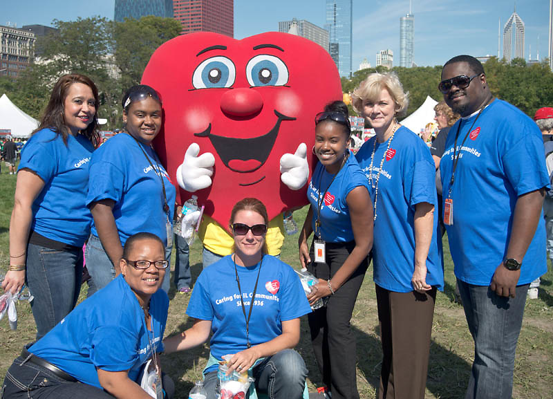 Heart Walk in Grant Park, Chicago, Illinois. With Blue Cross Blue Shield volunteers and walkers. Raising awareness.