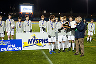 Monroe-Woodbury defeated Clarence 2-0 to win the NYSPHSAA Class AA boy's soccer championship at Faller Field in Middletown on Nov. 11, 2018. The state title capped an unbeaten season for M-W.