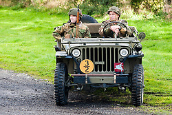 Reenactors portraying the 6th Airorne Division, in a Willys Jeep at the Pickering Showground Day 2<br /> 14 October 2012<br /> Image © Paul David Drabble