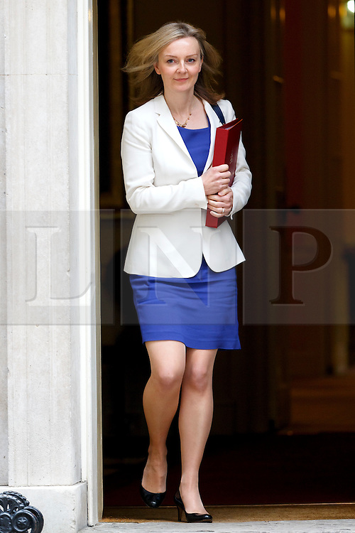© Licensed to London News Pictures. 13/10/2015. London, UK. Environment, Food and Rural Affairs Secretary LIZ TRUSS leaving Downing Street after a cabinet meeting on Tuesday, 13 October 2015. Photo credit: Tolga Akmen/LNP