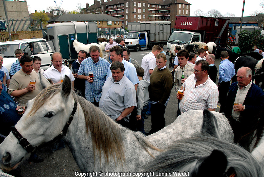 Horse dealers gathered outside Flanigan Arms pub in Wandsworth South London for annual bank holiday trading event.