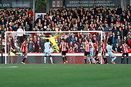 Brentford Goalkeeper Daniel Bentley (1) scores an own goal (score 1-2) during the EFL Sky Bet Championship match between Brentford and Sunderland at Griffin Park, London, England on 21 October 2017. Photo by Andy Walter.