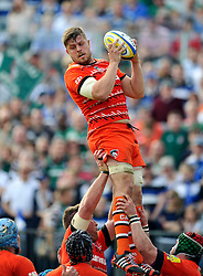 Ed Slater of Leicester Tigers wins the ball at a lineout - Photo mandatory by-line: Patrick Khachfe/JMP - Mobile: 07966 386802 23/05/2015 - SPORT - RUGBY UNION - Bath - The Recreation Ground - Bath Rugby v Leicester Tigers - Aviva Premiership Semi-Final