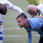NEW YORK, NEW YORK - March 18:  Maxime Chanot #4 of New York City FC is consoled by Laurent Ciman #23 of Montreal Impact and Hernan Bernardello #30 of Montreal Impact during the New York City FC Vs Montreal Impact regular season MLS game at Yankee Stadium on March 18, 2017 in New York City. (Photo by Tim Clayton/Corbis via Getty Images)