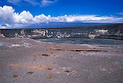 Halema'uma'u crater from the east rim (Mauna Loa in background), Hawaii Volcanoes National Park, The Big Island, Hawaii