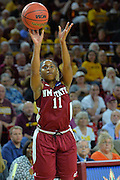 March 18, 2016; Tempe, Ariz;  New Mexico State Aggies guard Shanice Davis (11) shoots a jumper during a game between No. 2 Arizona State Sun Devils and No. 15 New Mexico State Aggies in the first round of the 2016 NCAA Division I Women's Basketball Championship in Tempe, Ariz. The Sun Devils defeated the Aggies 74-52.