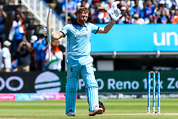 Jonny Bairstow of England celebrates reaching 100 - Mandatory by-line: Robbie Stephenson/JMP - 30/06/2019 - CRICKET - Edgbaston - Birmingham, England - England v India - ICC Cricket World Cup 2019 - Group Stage