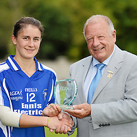 6 August 2012; Niki Kaiser, Clare, is presented with the player of the match award by Pat Quill, President, Ladies Gaelic Football Association. All-Ireland Ladies Football Minor B Championship Final, Clare v Roscommon, St. Brendan's Park, Birr, Co. Offaly. Picture credit: Pat Murphy / SPORTSFILE *** NO REPRODUCTION FEE ***