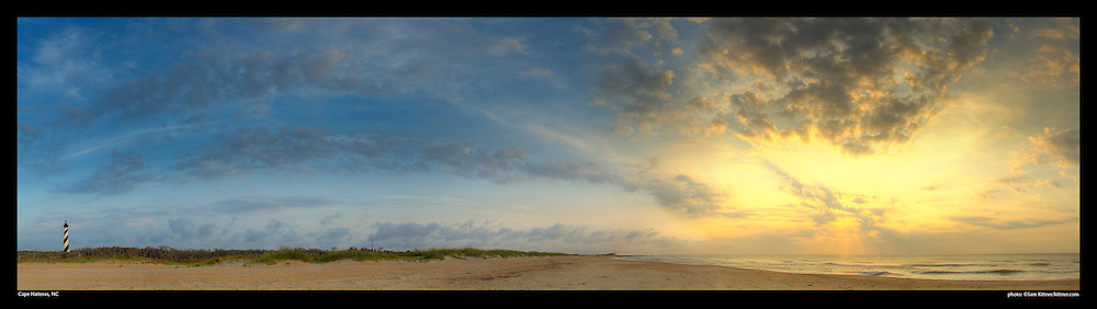 Panoramic photograph of sunrise at Cape Hatteras Lighthouse, Buxton, NC  Print Size (in inches): 15x4; 24x6; 36x10; 48x13; 60x17; 72x20