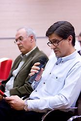 Marjan Lah na okrogli mizi na temo o vlogi medijev (predvsem televizije), pri popularizaciji in razvoju slovenskega nogometa v organizaciji SportForum Slovenija, Austria Trend Hotel, Ljubljana, 23. april 2009. (Photo by Vid Ponikvar / Sportida)