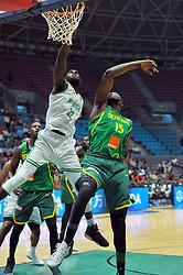 September 15, 2017 - Tunis, Tunisia - Ochefu Daniel(32)of Nigeria and Ndoye Youssoufa(15) of Senegal during the semi-final of FIBA AfroBasket 2017....Afrobasket 2017: Semifinal: Senegal eliminated by Nigeria who find Tunisia in the final  (Credit Image: © Chokri Mahjoub via ZUMA Wire)