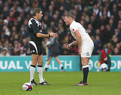 12 November 2016 Twickenham : Rugby Union International Match : England v South Africa :<br /> England captain Dylan Hartley is spoken to by referee Jerome Garces.<br /> Photo: Mark Leech