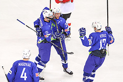 Blaz Gregorc of Slovenia, Jan Urbas of Slovenia and Miha Verlic of Slovenia celebrate during Ice Hockey match between National Teams of Hungary and Slovenia in Round #3 of 2018 IIHF Ice Hockey World Championship Division I Group A, on April 25, 2018 in Arena Laszla Pappa, Budapest, Hungary. Photo by David Balogh / Sportida