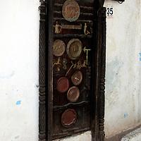 Africa, Morocco, Rabat. The door of a blacksmith's home, Kasbah Oudaya, the old city of Rabat.