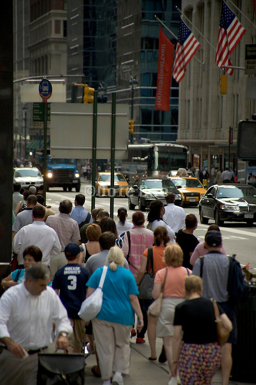 crowded New York city street scene