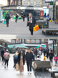 © Licensed to London News Pictures 12/04/2021. Bromley, UK. Comparison images. Yesterday 11.04.2021 a covid restricted empty Bromley High Street and today 12.04.2021 a busy Bromley High Street in South East London this morning as non-essential shops re-open after four months closed because of the Coronavirus outbreak. Photo credit:Grant Falvey/LNP **Use requires payment for two pictures**