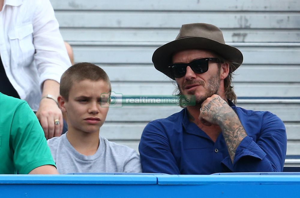 June 22, 2017 - London, United Kingdom - David Beckham and Romeo Beckham watching Sam Querrey (USA) during Men's Singles Round Two match on the fourth day of the ATP Aegon Championships at the Queen's Club in west London on June 22, 2017  (Credit Image: © Kieran Galvin/NurPhoto via ZUMA Press)