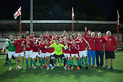 Karpatalya team and staff celebrate following a 4 - 2 victory for Karpatalya red against Szekely Land blue during the Conifa Paddy Power World Football Cup semi finals on the 7th June 2018 at Carshalton Athletic Football Club in the United Kingdom. The CONIFA World Football Cup is an international football tournament organised by CONIFA, an umbrella association for states, minorities, stateless peoples and regions unaffiliated with FIFA.
