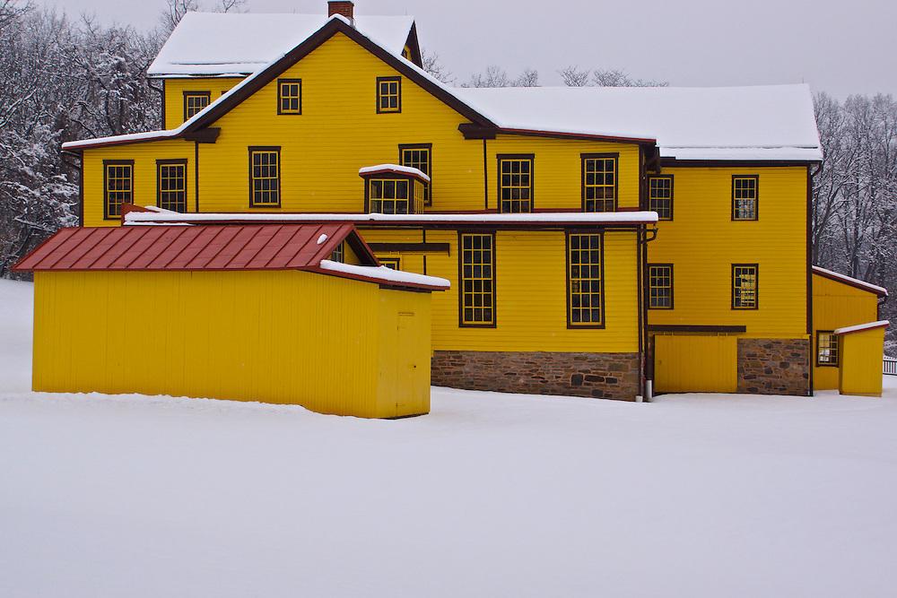 Berks County ,Pennsylvania, winter snow, Heritage Center, Gruber Wagon Works