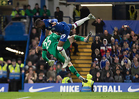 Football - 2019 / 2020 Premier League - Chelsea vs. West Ham United<br /> <br /> Fikayo Tomori (Chelsea FC) and David Martin (West Ham United) clash as the both went for the same ball at Stamford Bridge <br /> <br /> COLORSPORT/DANIEL BEARHAM